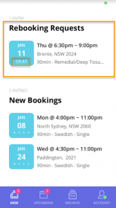 Blys massage therapist app - new offers - rebooking request