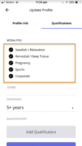 Select Modalities - Bys therapist app