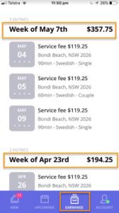 earnings - blys therapist app