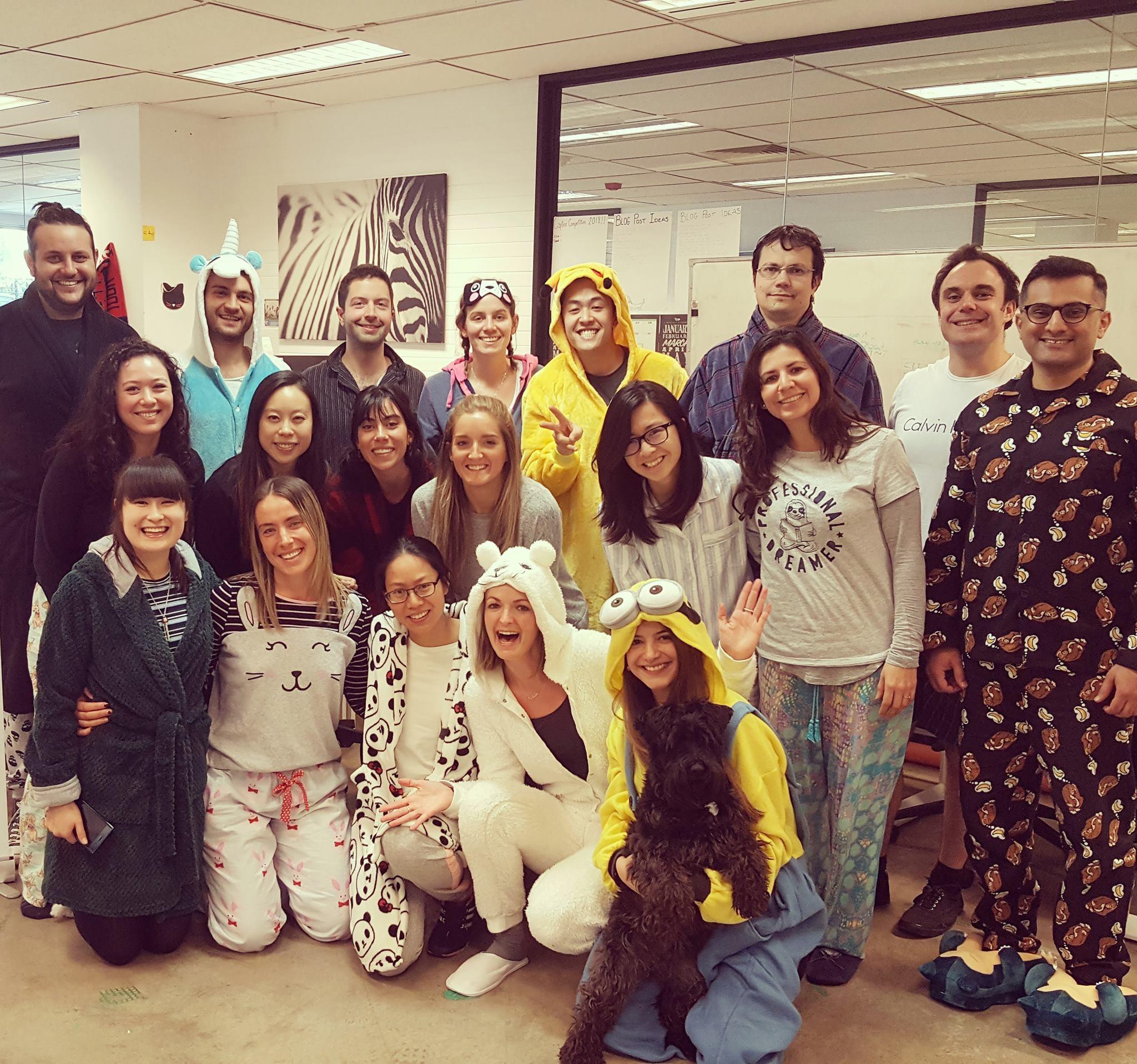 office pyjama party pyjama foundation fundraiser