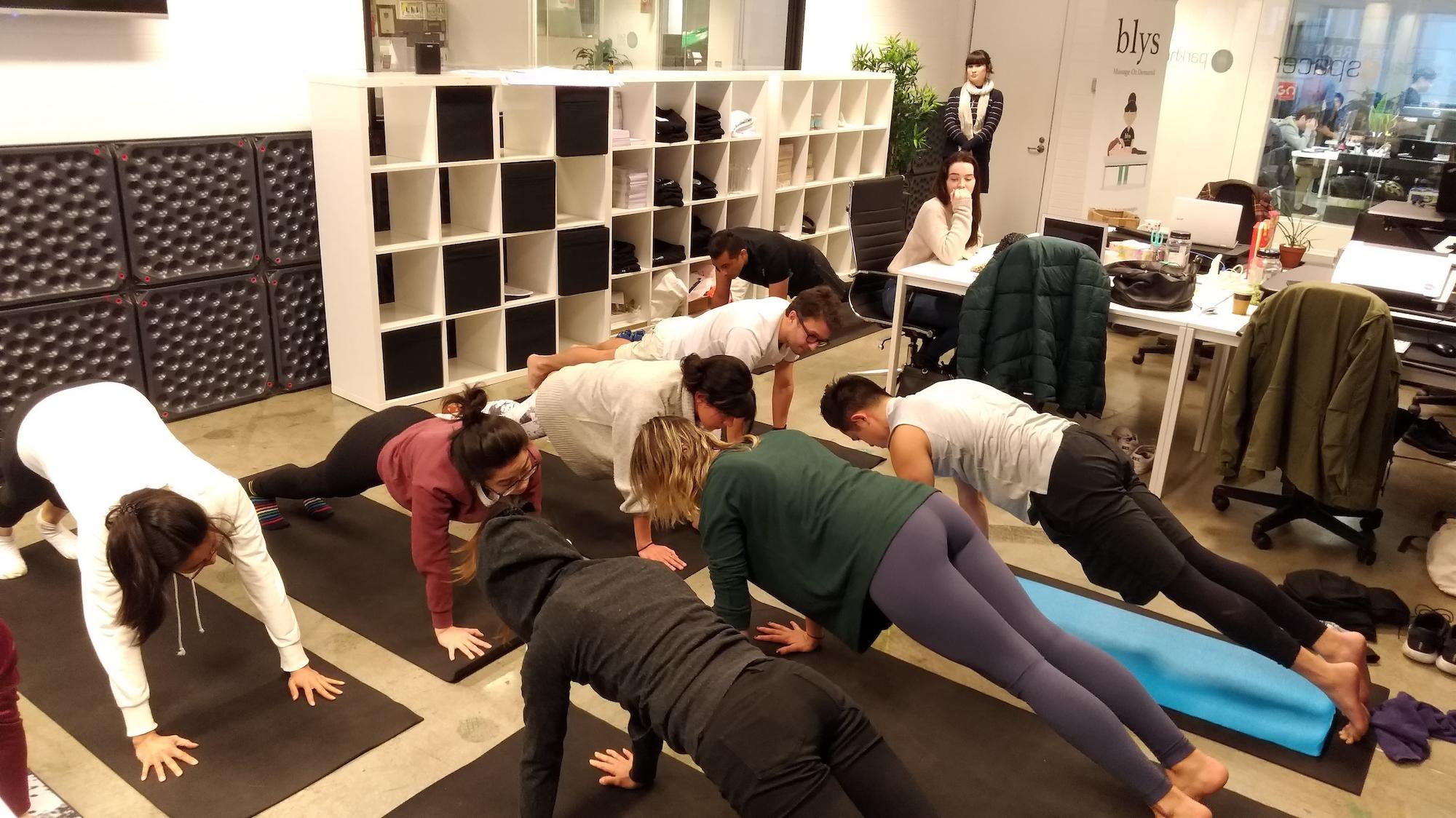 get blys mobile massage on demand Sydney yoga office team