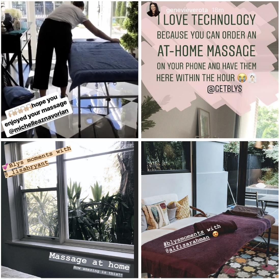 blyssed instagram getblys mobile massage on demand Sydney