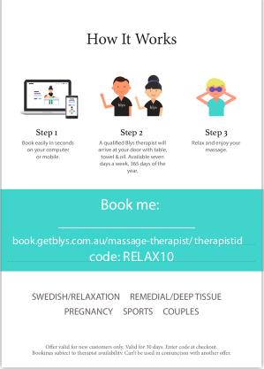 Blys Massage therapist booking flyer