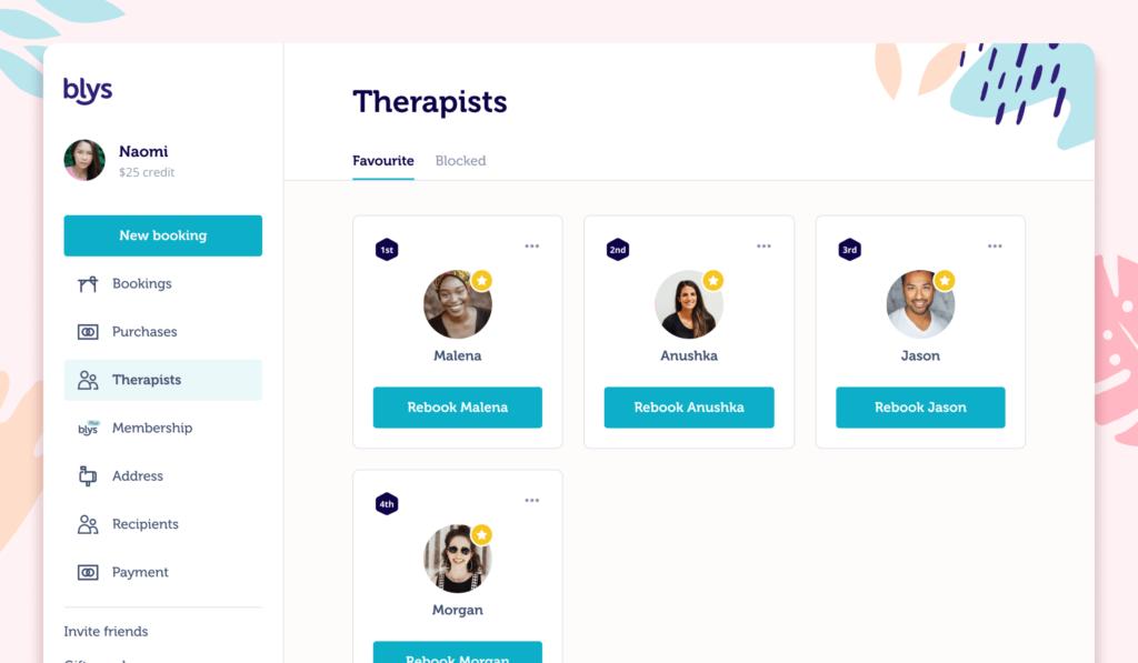 Blys web app favourite therapists