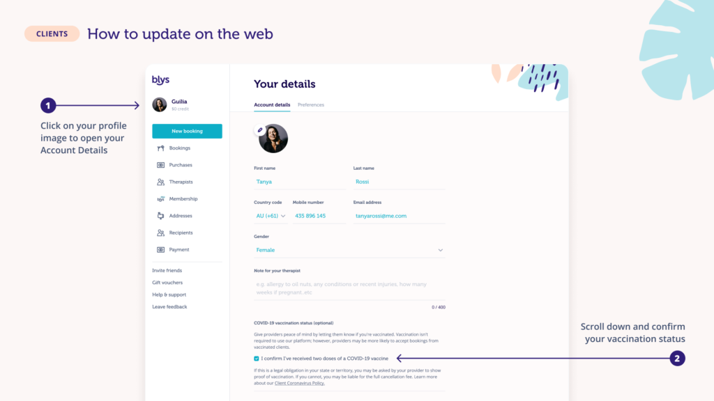 Blys covid badge 'how to' page on updating vaccination status in the website